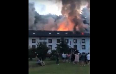 Туристы сняли на камеру жуткий пожар в Закарпатье
