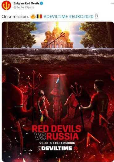 """Евро-2020 :Сегодня """"красные дьяволы"""" атакуют православный храм"""