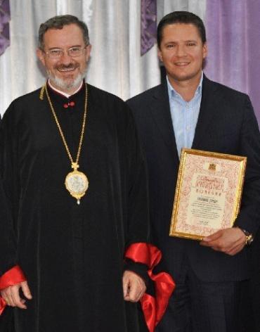 Степан Деркач та Мілан Шашик перед освяченням новозбудованої церкви у Хусті