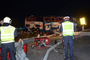 В Австрии с трассы около Вены слетел автобус с украинскими номерами