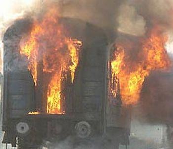 В Раховском районе загорелся дизель-поезд с людьми