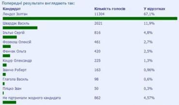Предварительные результаты выборов городского головы г.Мукачево (Закарпатская область).