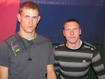 Призеры чемпионата Украины в толкании ядра Михаил Онисько и Александ Дудаш