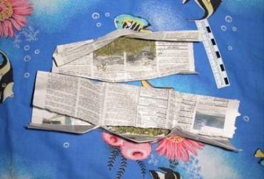 У мукачевца изъяли бумажный сверток с веществом, похожим на марихуану