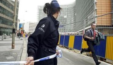 В тушении пожара в здании Еврокомиссии участвовали до десяти пожарных расчетов