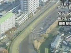 В Японии в реке Сунаоши после цунами вода потекла вверх против течения