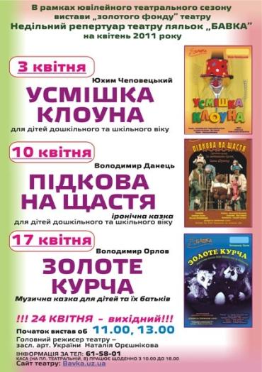 """Репертуар театру ляльок """"Бавка"""""""