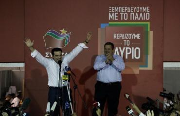 """Алексис Ципрас с лидером партии """"Независимые греки"""" Паносом Камменосом"""