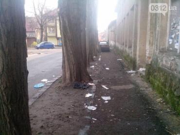 Мусор рассыпан вдоль пешеходной дорожки и дороги, хотя рядом стоят мусорные баки