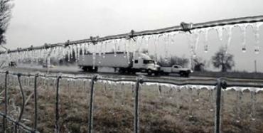 Толщина ледяной корки на дорогах и ветках деревьев местами 12 см.