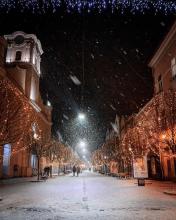 Вечерний Ужгород со снежком очаровывает